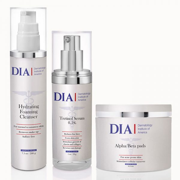 DIA's Male Skincare Regimen for Normal to Dry and Mature Skin with Hydrating Foaming Cleanser, Tretinol Serum, Alpha/Beta Pads Products from Dermatologist Institute of America Professional Skincare Products | Dermatologist Formulated Skincare Product