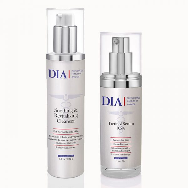 DIA's Male Skincare Regimen for Oily & Acne Prone Skin with Soothing and Revitalizing Cleanser and Tretinol Serum Products from Dermatologist Institute of America Professional Skincare Products | Dermatologist Formulated Skincare Product