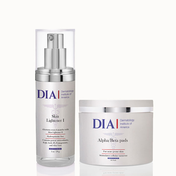 DIA's The Glow Regimen with Alpha Beta Pads and Skin Lightener I Products from Dermatologist Institute of America Professional Skincare Products | Dermatologist Formulated Skincare Product