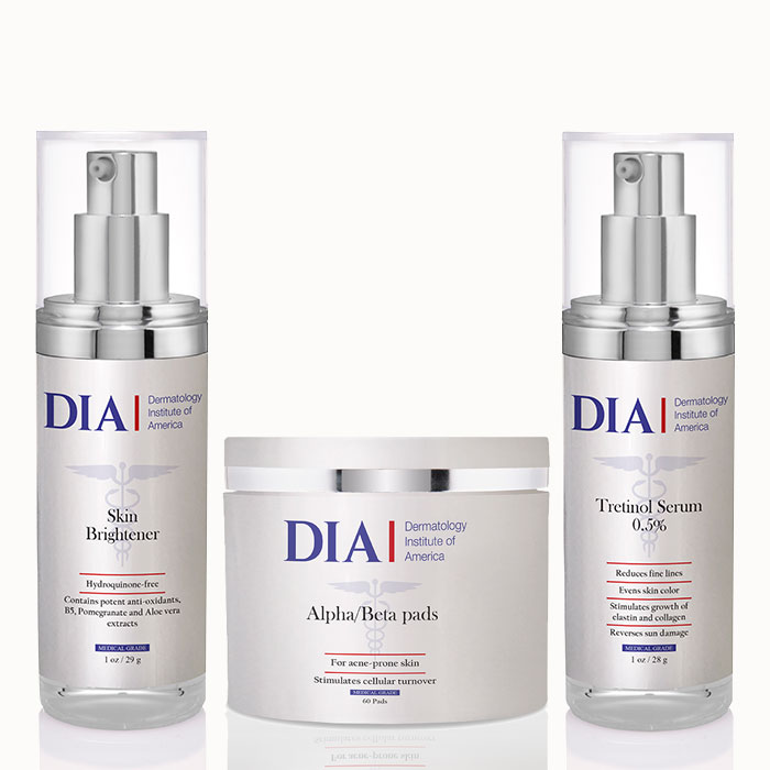 DIA's The Super Glow Regimen with Alpha Beta Pads, Skin Brightener and Tretinol Serum Products from Dermatologist Institute of America Professional Skincare Products | Dermatologist Formulated Skincare Product