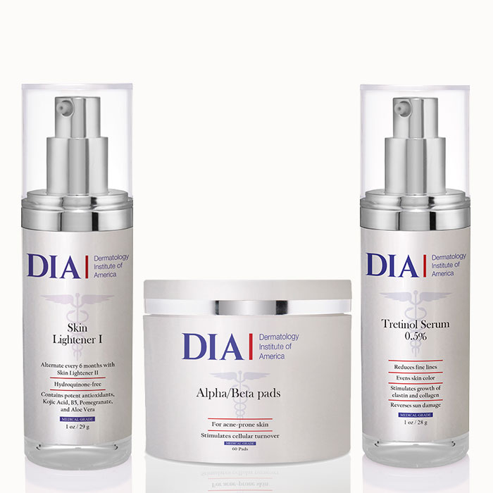 DIA's The Super Glow Regimen with Alpha Beta Pads, Skin Lightener I and Tretinol Serum Products from Dermatologist Institute of America Professional Skincare Products | Dermatologist Formulated Skincare Product